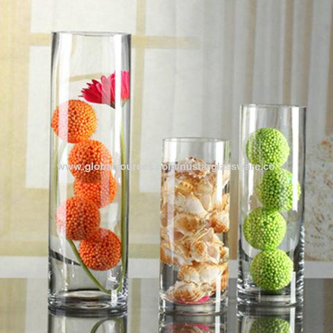 China Clear Handmade Cylinder Glass Vased10cmd15cmd20cmd25cm