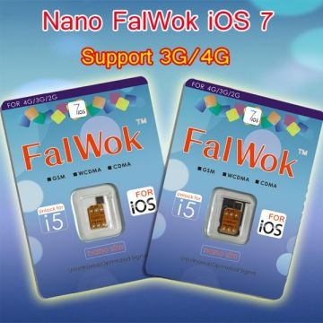 Nano FalWOk iOS 7 Unlock sim card for iPhone 5 Work 3G/4G