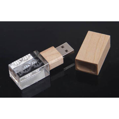 China Promotion Crystal / Wood USB Flash Drive from Shenzhen