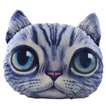 China Custom emoji pillow animal head, shaped pillow 3D cat
