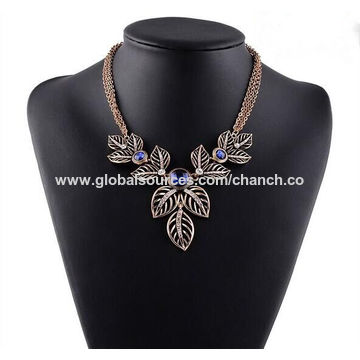 China Fashionable Leaves Statement Necklaces for Women's Accessories, Customized are Accepted