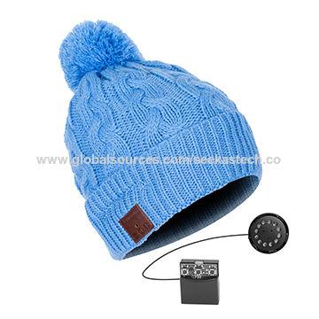 74a58a91bcb80d China 2019 Pom-Pom Bluetooth Headphone Beanie Twister Knitting Cuff Beanie  in Beautiful Blue Lovely ...