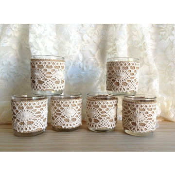 china candle favors burlap and pink lace covered wedding decoration bridal shower votive tea