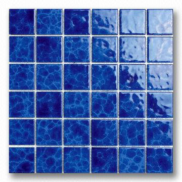 48mm Blue Porcelain Mosaic Tile for Swimming Pool Use ...
