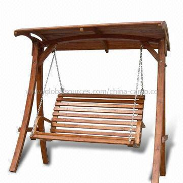 China Deluxe Wooden Frame Swing Chair Available With Canopy On