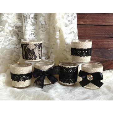 china candle favors burlap and black lace covered wedding decoration bridal shower votive tea