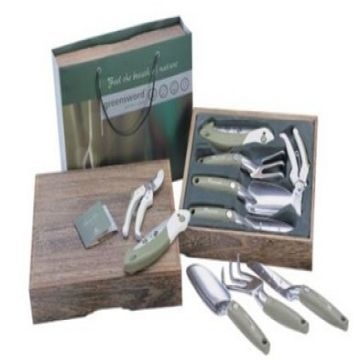 New Deluxe 5 Pieces Garden Hand Tool Set Kit Paulownia Wooden Gift
