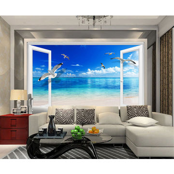 Large Beach Sea 3D Window WALL STICKER Home Decor Exotic Beach View ...