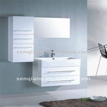 ... China Shj-b077k Waterproof Painting Finish White Solid Wood Bathroom Vanity