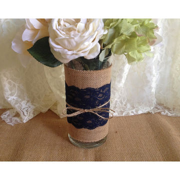 Navy Blue Burlap And Lace Glass Vase Wedding Bridal Shower Baby