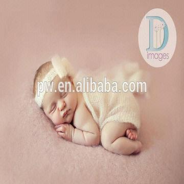 China handmade knit mohair wrap and tieback headband baby newborn photography prop baby blanket photo p