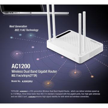 China TOTOLINK A3002RU AC1200 Wireless Dual Band Gigabit WiFi Router,WiFi Repeater English Firmware