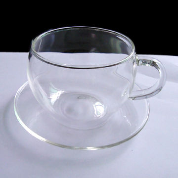 China Crystal-clear Glass Cup and Saucer with Capacity of 250ml ...