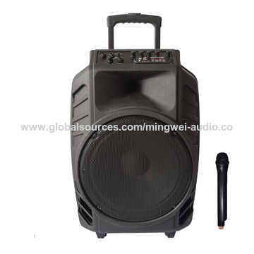 China 70W Big Power USB SD Card Active Trolley Speaker with Wireless Mic