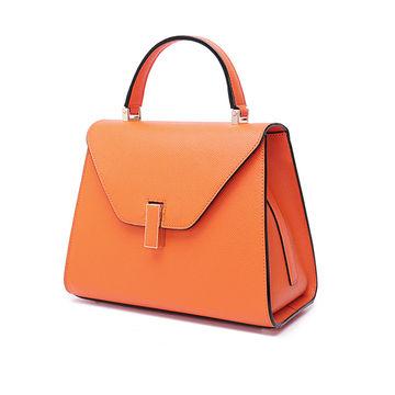 China New style fashionable customized orange color leather handbag
