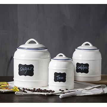 China Por Fancy Ceramics Storage Container Jar Sugar With Lid For Home Restaurant