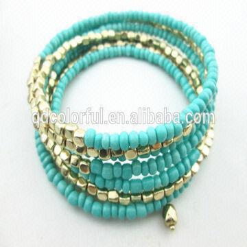 China New Gold Bracelet Designs Spring Seed Bead Bracelets