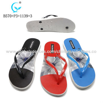 f9614e5ab China Best sales custom PVC flower full printed girls summer rubber beach  flip flop slipper wholesale ...