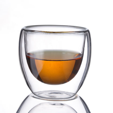 80ml Double Wall Small Glass Tea Coffee Cup Heat-resistant Double Layer Glass