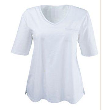 Womens 100 Cotton Slub Yarn T Shirt Round Neck Long Sleeves