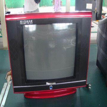 color crt tv with blue screen two side speakers and multilingual