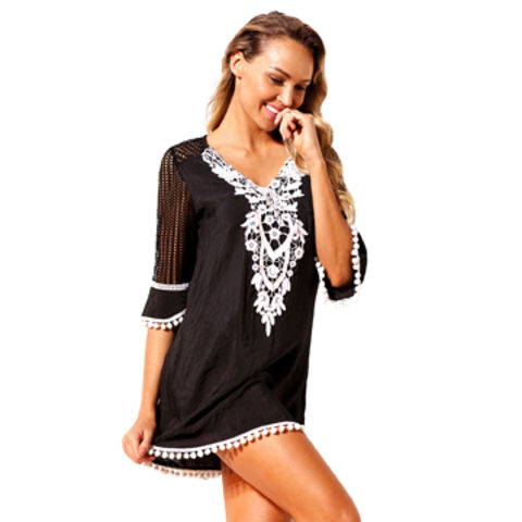 2f4f14e1ad China Black Crochet Trim Beach Tunic Cover up ,Beach Dress,Sundress ...