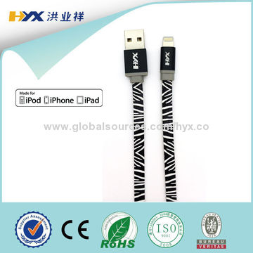 Flat Printing Lightning to USB Sync Charger Data Cable Cord for iPhone5/5C/5S/6/6 Plus