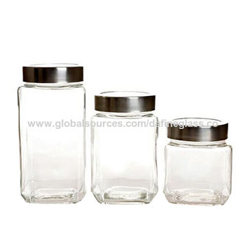 Various sizes clear square storage glass jar glass food jar with