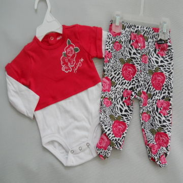 Hurley 2 Pcs Set Baby Clothes Long Sleeves Body Suit Footed Pant