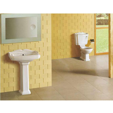 China Bathroom Toilet Pedestal Pan Ceramic Hand Wash Basin With