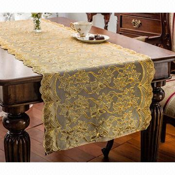 Captivating Taiwan Vinyl Tablecloth, Long Lace, Crocheted, Gold/Silver, Premium Quality,