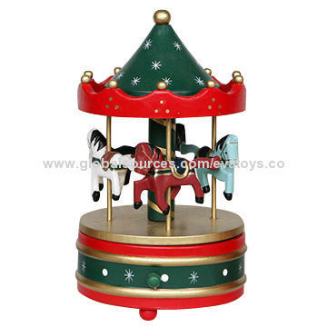 china 2015 decorative wooden carousel horse music box for christmas gift unit measures 11