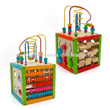 China Colorful Baby Wooden Activity Cube Toy With Counting Beads And