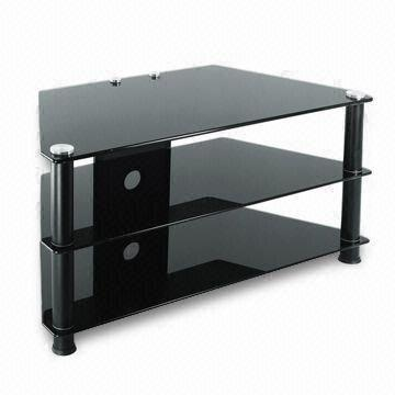 Tv Stand Table 3 Shelf 8 6 6mm Black Tempered Glass Suitable For
