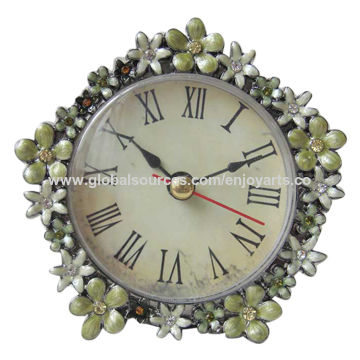 China Pentagon Green Enamel Floral And Crystal Jeweled Small Tabletop Clock  With Black Nickel Plating