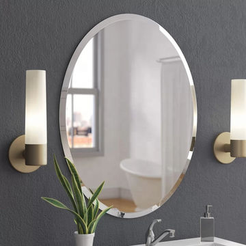 China Oval Beveled Polished Frameless, Oval Frameless Bathroom Mirror