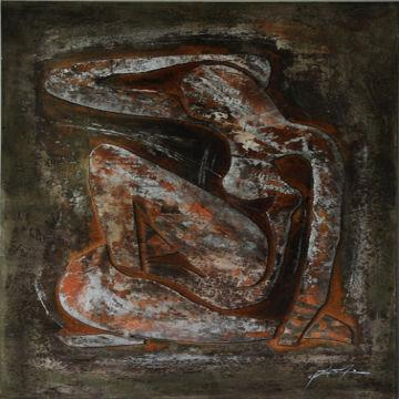 Figure Oil Painting Mixed Media on Canvas with Wood Stretch Heavy