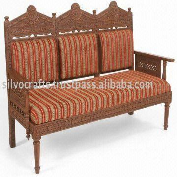 Indian Teak Wood Hand Carved Living Room Furniture With Sofa Set