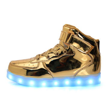 Men's Shoes High To Help Casual Shoes Led Colorful Led Light Shoes Usb Rechargeable Shoes Wholesale Shoes