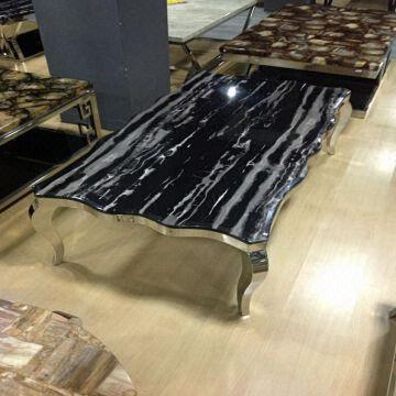 B196 Black Marble Stainless Steel Coffee Tables for Sale Global