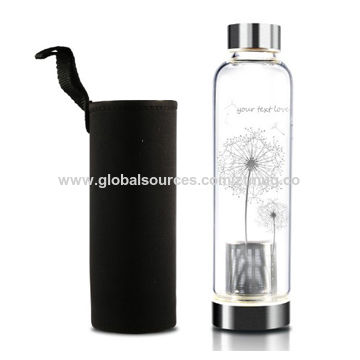 57d4256113 China Borosilicate custom glass water bottle, tea filter with pouch  sleeve;550ml ...
