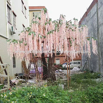 China 6 Meter Factory Supply Pink Artificial Wisteria Tree For
