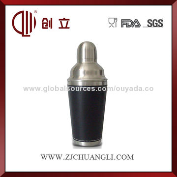 China Mini metal cocktail shaker with leather coating
