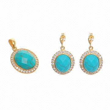 China Turquoise Stone Gold Tone Cz Pendant And Earrings Set