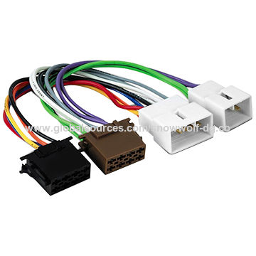 Auto car audio ISO connector wire harness with 6-pin, 10-pin ...