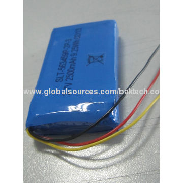 Li-polymer Battery Pack, 3.7V/2500mAh, 1S2P/Cell 563459P w/PCM & NTC, Lead Outer Wires & Connector
