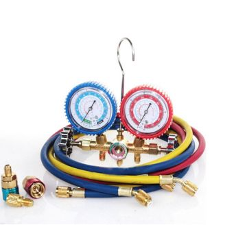 R12 R22 R502 Brass Manifold Gauge Set with sight glass for
