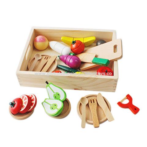 Wooden Kids Pretend Play Chopping Board /& Cutter Kitchen Cookware Set Toy