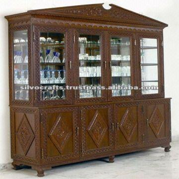Wooden Hand Carved China Cabinet Carved furniture from India