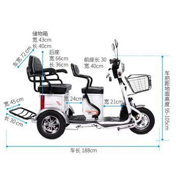 Dragonfly 2 Passengers Electric Tricycle, 600W 3-wheel Electric Bike
